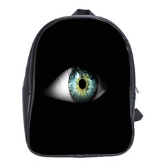 Eye On The Black Background School Bags (xl)  by Nexatart