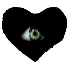 Eye On The Black Background Large 19  Premium Heart Shape Cushions