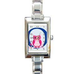 Alphabet Letter O With Owl Illustration Ideal For Teaching Kids Rectangle Italian Charm Watch by Nexatart