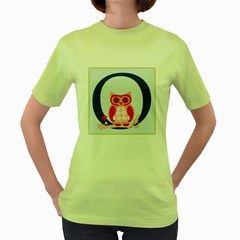 Alphabet Letter O With Owl Illustration Ideal For Teaching Kids Women s Green T Shirt by Nexatart