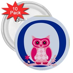 Alphabet Letter O With Owl Illustration Ideal For Teaching Kids 3  Buttons (10 Pack)