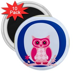 Alphabet Letter O With Owl Illustration Ideal For Teaching Kids 3  Magnets (10 Pack)  by Nexatart