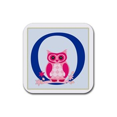 Alphabet Letter O With Owl Illustration Ideal For Teaching Kids Rubber Coaster (square)  by Nexatart