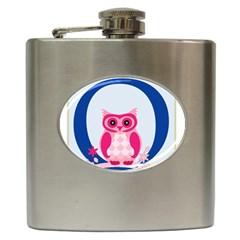 Alphabet Letter O With Owl Illustration Ideal For Teaching Kids Hip Flask (6 Oz)