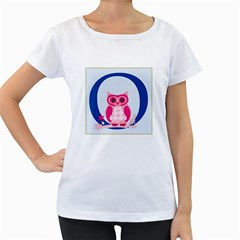 Alphabet Letter O With Owl Illustration Ideal For Teaching Kids Women s Loose Fit T Shirt (white) by Nexatart