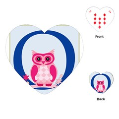Alphabet Letter O With Owl Illustration Ideal For Teaching Kids Playing Cards (heart)  by Nexatart
