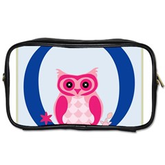 Alphabet Letter O With Owl Illustration Ideal For Teaching Kids Toiletries Bags 2 Side by Nexatart