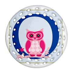 Alphabet Letter O With Owl Illustration Ideal For Teaching Kids Ornament (round Filigree) by Nexatart