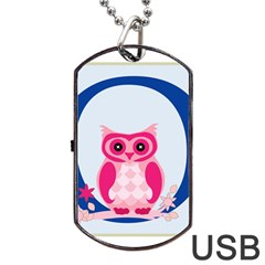 Alphabet Letter O With Owl Illustration Ideal For Teaching Kids Dog Tag Usb Flash (two Sides) by Nexatart