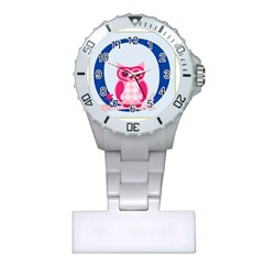 Alphabet Letter O With Owl Illustration Ideal For Teaching Kids Plastic Nurses Watch by Nexatart