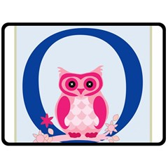 Alphabet Letter O With Owl Illustration Ideal For Teaching Kids Double Sided Fleece Blanket (large)