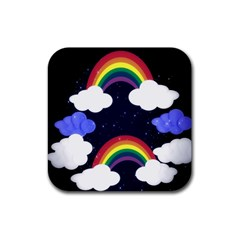 Rainbow Animation Rubber Square Coaster (4 Pack)  by Nexatart