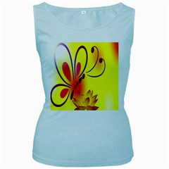 Butterfly Background Wallpaper Texture Women s Baby Blue Tank Top