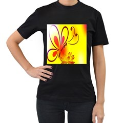 Butterfly Background Wallpaper Texture Women s T Shirt (black) (two Sided)