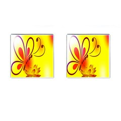 Butterfly Background Wallpaper Texture Cufflinks (square) by Nexatart