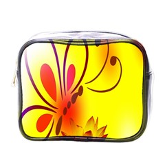 Butterfly Background Wallpaper Texture Mini Toiletries Bags by Nexatart