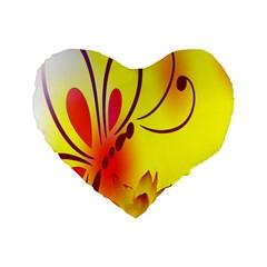 Butterfly Background Wallpaper Texture Standard 16  Premium Flano Heart Shape Cushions by Nexatart