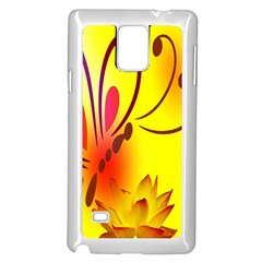 Butterfly Background Wallpaper Texture Samsung Galaxy Note 4 Case (white)