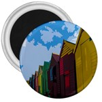 Brightly Colored Dressing Huts 3  Magnets Front