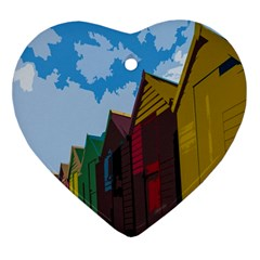 Brightly Colored Dressing Huts Ornament (heart) by Nexatart