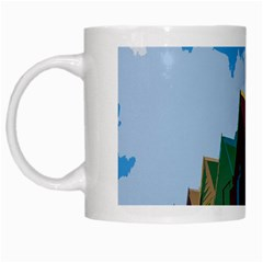 Brightly Colored Dressing Huts White Mugs by Nexatart