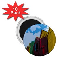 Brightly Colored Dressing Huts 1 75  Magnets (10 Pack)