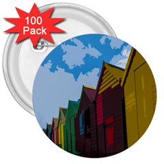 Brightly Colored Dressing Huts 3  Buttons (100 Pack)  by Nexatart