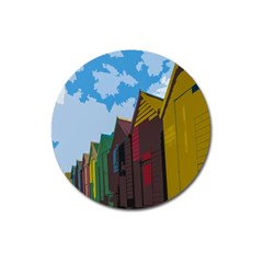 Brightly Colored Dressing Huts Magnet 3  (round) by Nexatart