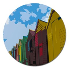 Brightly Colored Dressing Huts Magnet 5  (round) by Nexatart