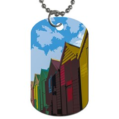 Brightly Colored Dressing Huts Dog Tag (one Side) by Nexatart