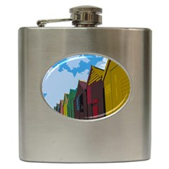 Brightly Colored Dressing Huts Hip Flask (6 Oz) by Nexatart