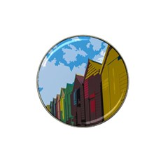 Brightly Colored Dressing Huts Hat Clip Ball Marker (4 Pack) by Nexatart