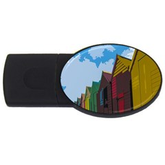 Brightly Colored Dressing Huts Usb Flash Drive Oval (4 Gb) by Nexatart