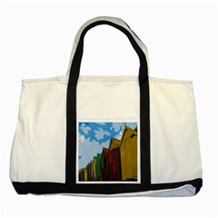 Brightly Colored Dressing Huts Two Tone Tote Bag by Nexatart
