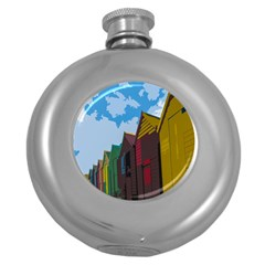 Brightly Colored Dressing Huts Round Hip Flask (5 Oz) by Nexatart