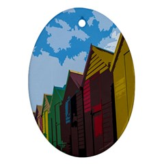 Brightly Colored Dressing Huts Oval Ornament (two Sides) by Nexatart