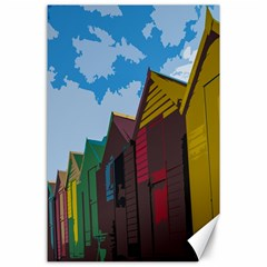 Brightly Colored Dressing Huts Canvas 24  X 36  by Nexatart