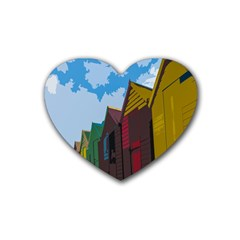 Brightly Colored Dressing Huts Rubber Coaster (heart)  by Nexatart