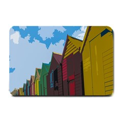 Brightly Colored Dressing Huts Small Doormat  by Nexatart