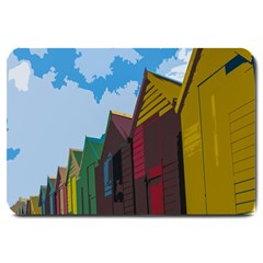Brightly Colored Dressing Huts Large Doormat  by Nexatart