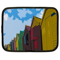 Brightly Colored Dressing Huts Netbook Case (large) by Nexatart