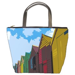 Brightly Colored Dressing Huts Bucket Bags by Nexatart