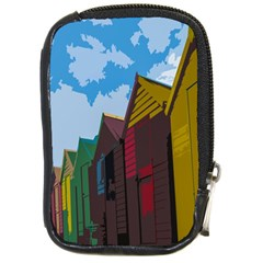 Brightly Colored Dressing Huts Compact Camera Cases by Nexatart