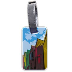 Brightly Colored Dressing Huts Luggage Tags (two Sides) by Nexatart