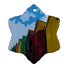 Brightly Colored Dressing Huts Ornament (snowflake) by Nexatart