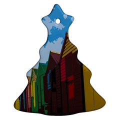 Brightly Colored Dressing Huts Christmas Tree Ornament (two Sides) by Nexatart