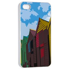 Brightly Colored Dressing Huts Apple Iphone 4/4s Seamless Case (white) by Nexatart