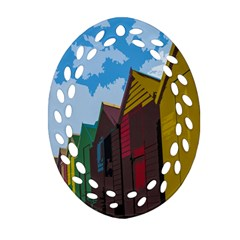 Brightly Colored Dressing Huts Oval Filigree Ornament (two Sides) by Nexatart