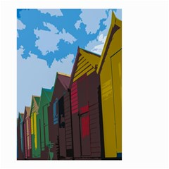 Brightly Colored Dressing Huts Small Garden Flag (two Sides) by Nexatart