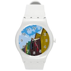 Brightly Colored Dressing Huts Round Plastic Sport Watch (m) by Nexatart